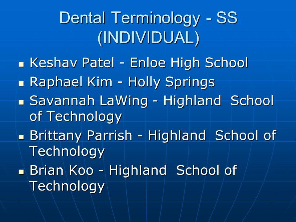 Extemporaneous Speaking - SS (INDIVIDUAL) Janay Terry - Holly Springs Janay Terry - Holly Springs Ruben Chemmanam - J.