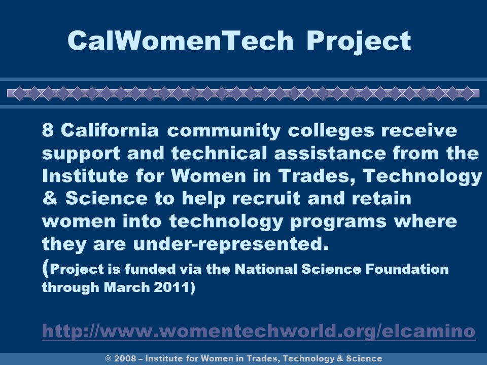 © 2008 – Institute for Women in Trades, Technology & Science CalWomenTech Project 8 California community colleges receive support and technical assist