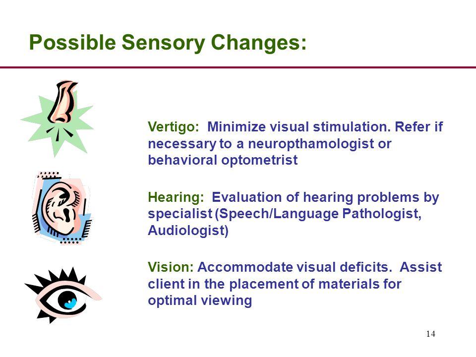 14 Possible Sensory Changes: Vertigo: Minimize visual stimulation.