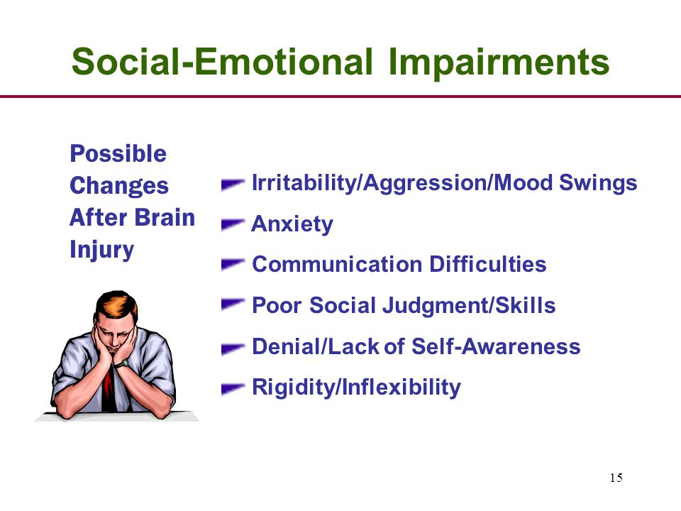 15 Possible Changes After Brain Injury Social-Emotional Impairments Irritability/Aggression/Mood Swings Anxiety Communication Difficulties Poor Social Judgment/Skills Denial/Lack of Self-Awareness Rigidity/Inflexibility