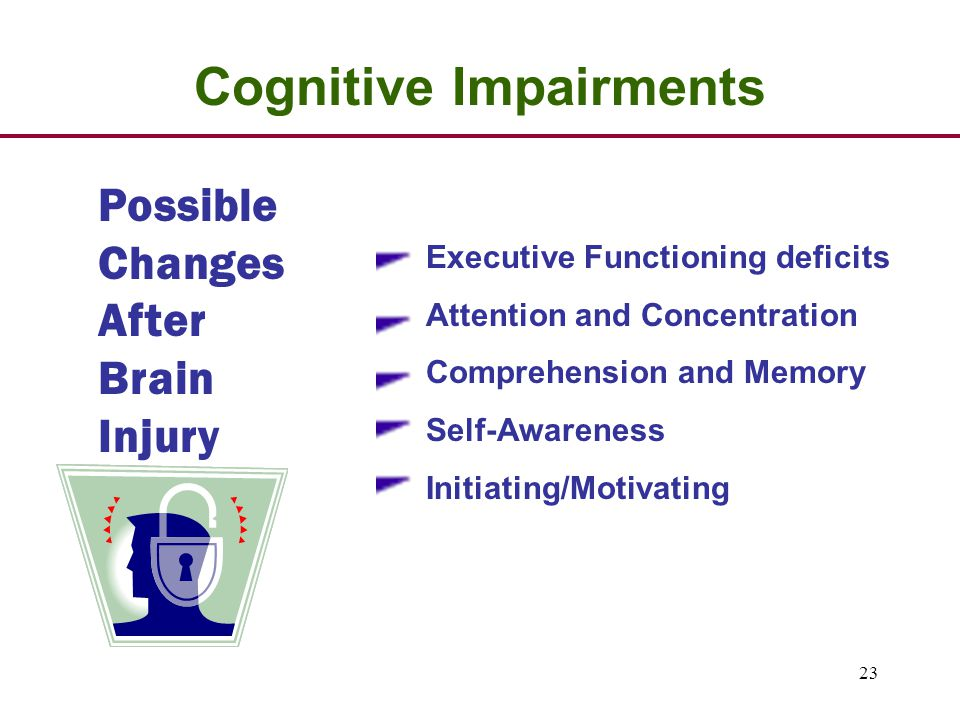 23 Possible Changes After Brain Injury Cognitive Impairments Executive Functioning deficits Attention and Concentration Comprehension and Memory Self-Awareness Initiating/Motivating