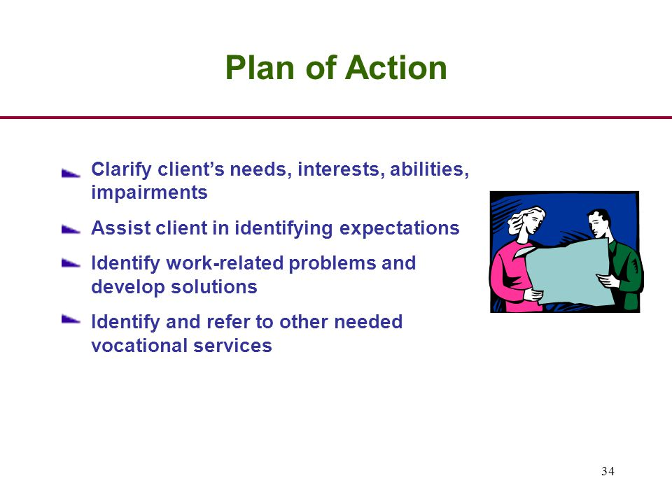34 Plan of Action Clarify client's needs, interests, abilities, impairments Assist client in identifying expectations Identify work-related problems and develop solutions Identify and refer to other needed vocational services