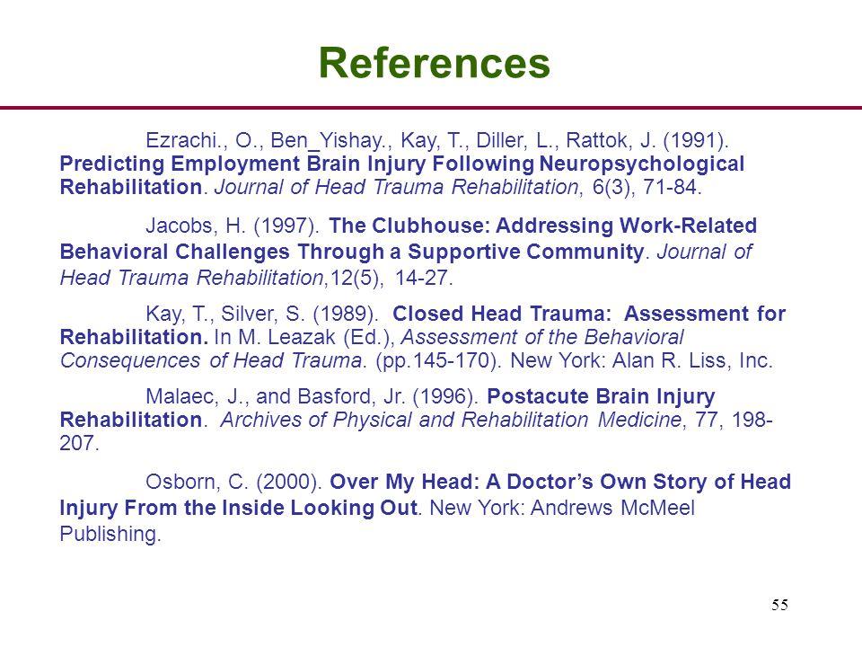 55 References Ezrachi., O., Ben_Yishay., Kay, T., Diller, L., Rattok, J.