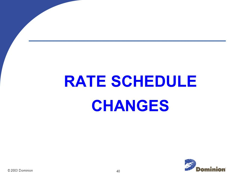 © 2003 Dominion 40 RATE SCHEDULE CHANGES