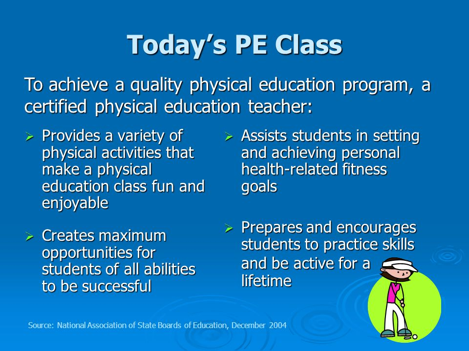 Today's PE Class  Provides a variety of physical activities that make a physical education class fun and enjoyable  Creates maximum opportunities for students of all abilities to be successful  Assists students in setting and achieving personal health-related fitness goals  Prepares and encourages students to practice skills and be active for a lifetime To achieve a quality physical education program, a certified physical education teacher: Source: National Association of State Boards of Education, December 2004