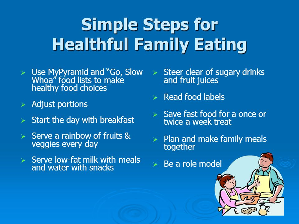 Simple Steps for Healthful Family Eating   Use MyPyramid and Go, Slow Whoa food lists to make healthy food choices   Adjust portions   Start the day with breakfast   Serve a rainbow of fruits & veggies every day   Serve low-fat milk with meals and water with snacks   Steer clear of sugary drinks and fruit juices   Read food labels   Save fast food for a once or twice a week treat   Plan and make family meals together   Be a role model