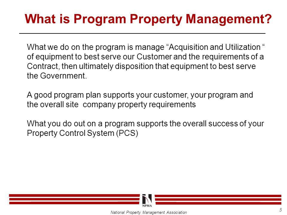 National Property Management Association What is Program Property Management.