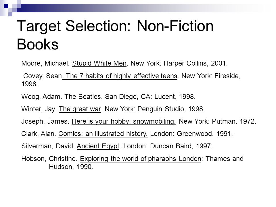 Target Selection: Non-Fiction Books Moore, Michael.