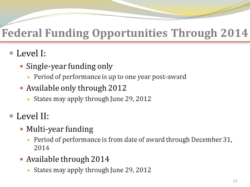 Federal Funding Opportunities Through 2014 Level I: Single-year funding only Period of performance is up to one year post-award Available only through 2012 States may apply through June 29, 2012 Level II: Multi-year funding Period of performance is from date of award through December 31, 2014 Available through 2014 States may apply through June 29, 2012 22