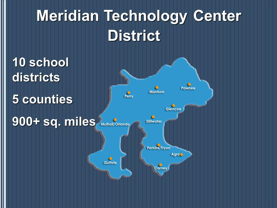 Major Components of the Meridian Delivery System Juniors and Seniors from District Partner Schools Adult Students Employees of Area Companies Full-Time Career Clusters Full-Time Career Clusters and Short-Term Courses Business and Industry Services