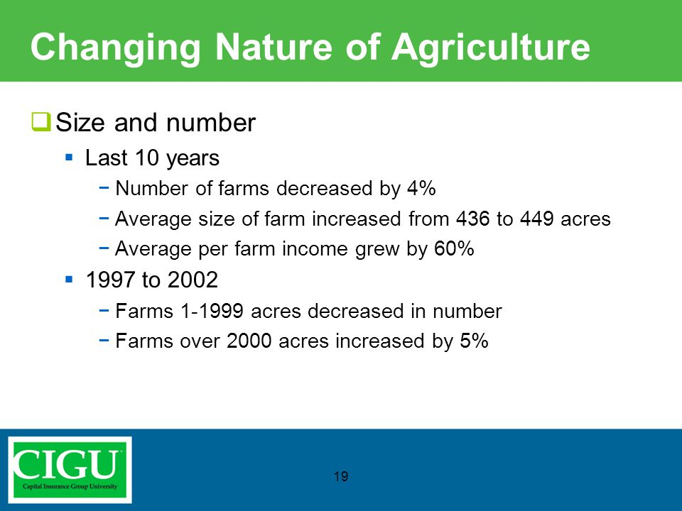 Changing Nature of Agriculture  Size and number  Last 10 years −Number of farms decreased by 4% −Average size of farm increased from 436 to 449 acre