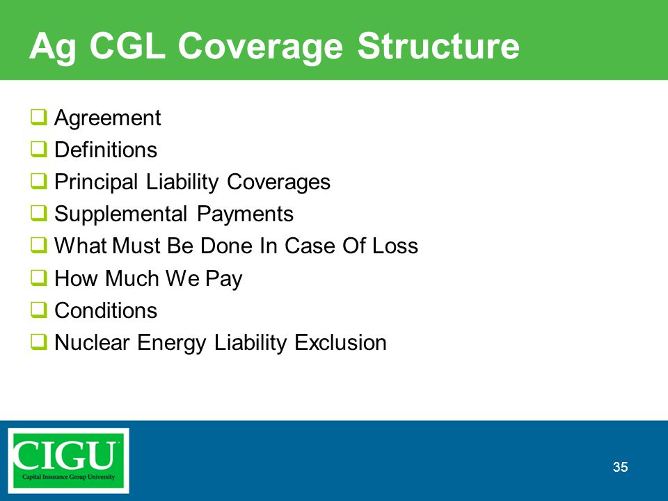 Ag CGL Coverage Structure  Agreement  Definitions  Principal Liability Coverages  Supplemental Payments  What Must Be Done In Case Of Loss  How
