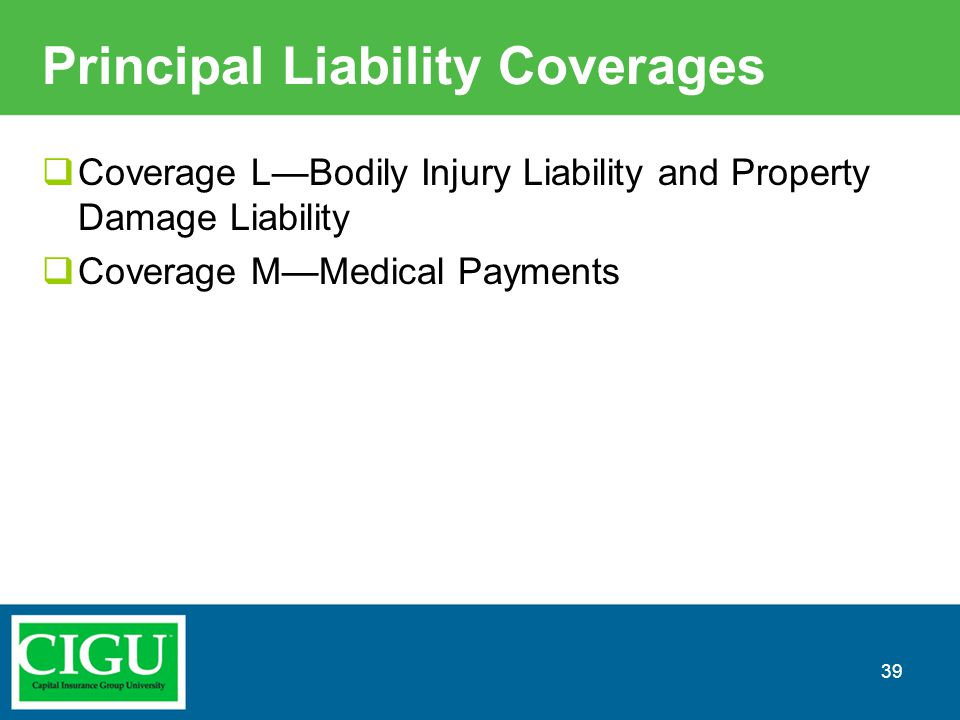 Principal Liability Coverages  Coverage L—Bodily Injury Liability and Property Damage Liability  Coverage M—Medical Payments 39