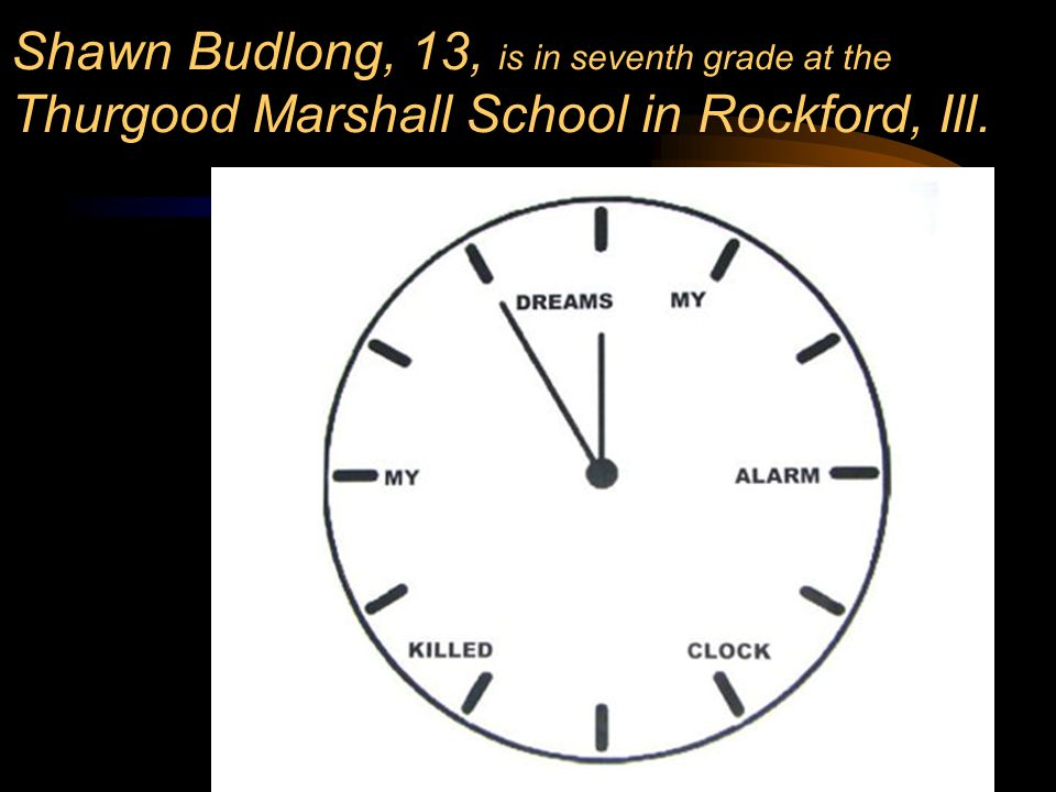 117 130 Shawn Budlong, 13, is in seventh grade at the Thurgood Marshall School in Rockford, Ill.