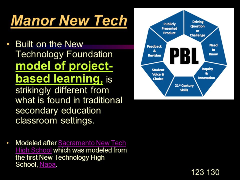 123 130 Manor New Tech Built on the New Technology Foundation model of project- based learning, is strikingly different from what is found in traditional secondary education classroom settings.