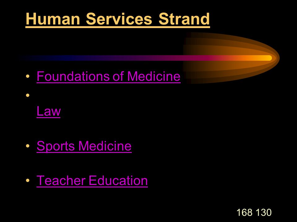 168 130 Human Services Strand Foundations of Medicine Law Sports Medicine Teacher Education