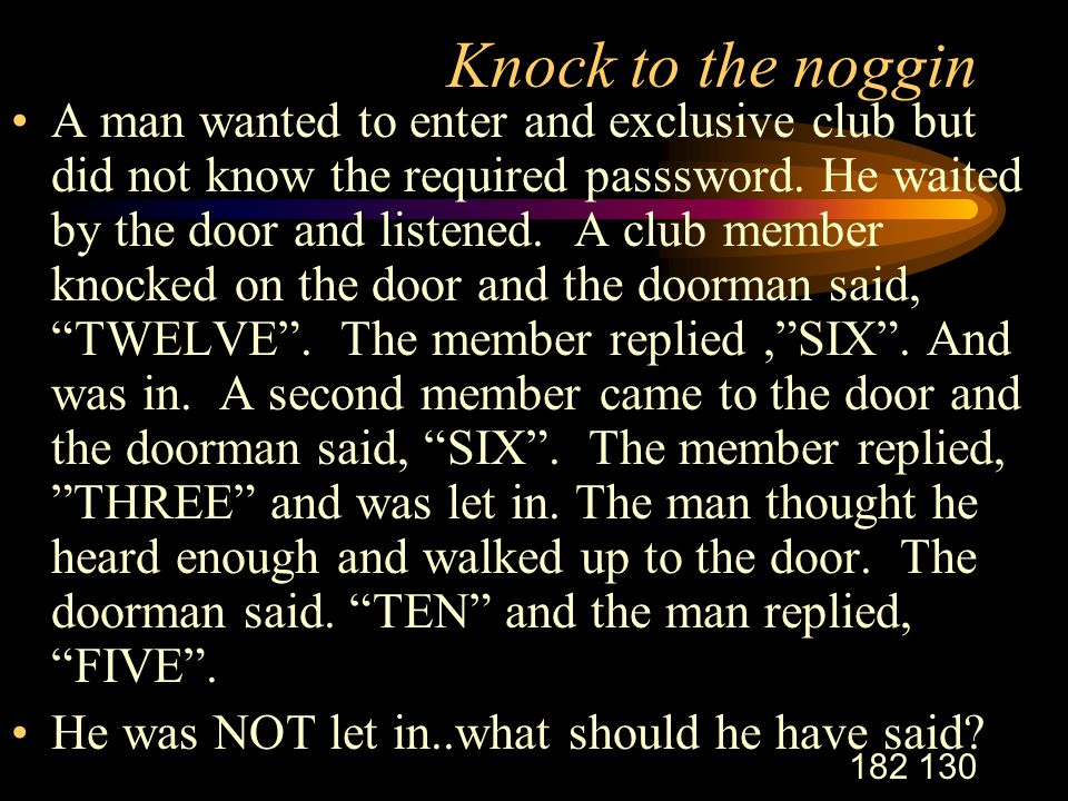 182 130 Knock to the noggin A man wanted to enter and exclusive club but did not know the required passsword.
