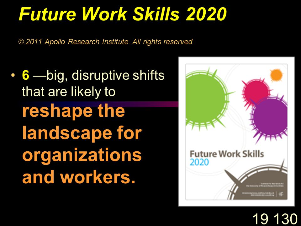 19 130 Future Work Skills 2020 © 2011 Apollo Research Institute.