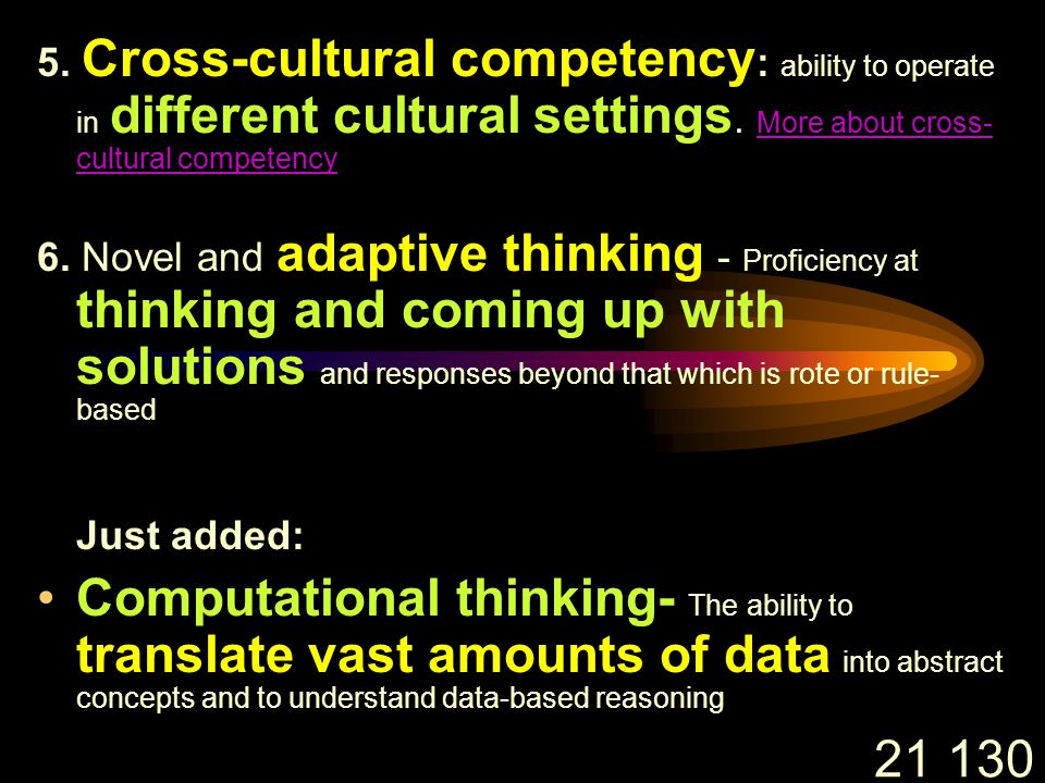 21 130 5. Cross-cultural competency : ability to operate in different cultural settings.