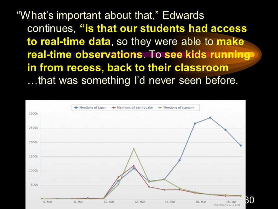 44 130 What's important about that, Edwards continues, is that our students had access to real-time data, so they were able to make real-time observations.