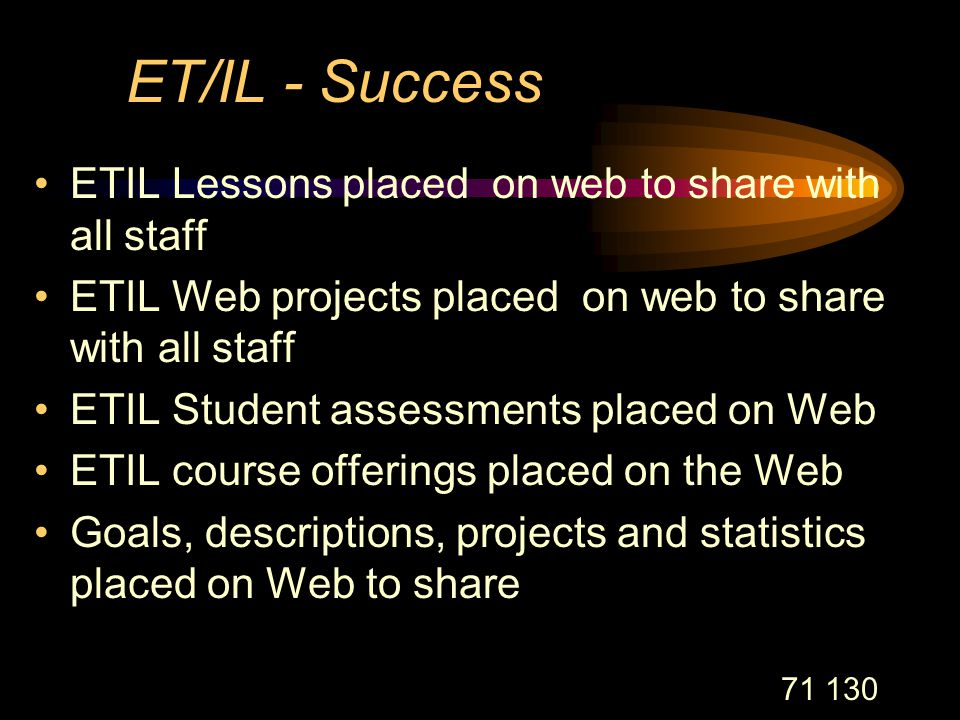 71 130 ET/IL - Success ETIL Lessons placed on web to share with all staff ETIL Web projects placed on web to share with all staff ETIL Student assessments placed on Web ETIL course offerings placed on the Web Goals, descriptions, projects and statistics placed on Web to share