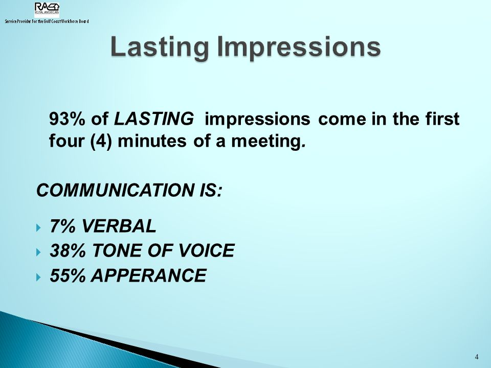 93% of LASTING impressions come in the first four (4) minutes of a meeting.
