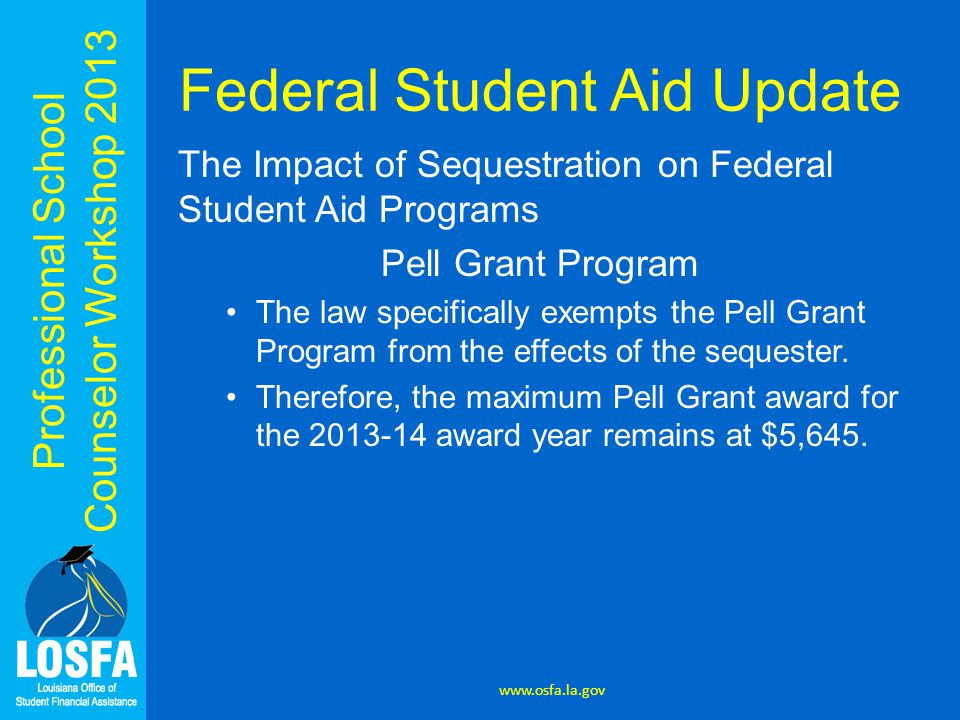 Professional School Counselor Workshop 2013 Federal Student Aid Update The Impact of Sequestration on Federal Student Aid Programs Direct Loan Program While this law does not otherwise change the amount or terms or conditions of Direct Loans, it does raise the loan fee paid by borrowers for Direct Loans Disbursed after March 1, 2013.