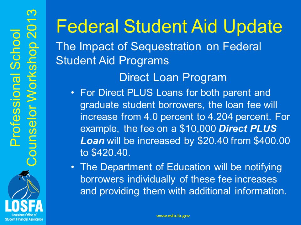 Professional School Counselor Workshop 2013 Federal Student Aid Update The Impact of Sequestration on Federal Student Aid Programs Direct Loan Program For Direct PLUS Loans for both parent and graduate student borrowers, the loan fee will increase from 4.0 percent to 4.204 percent.