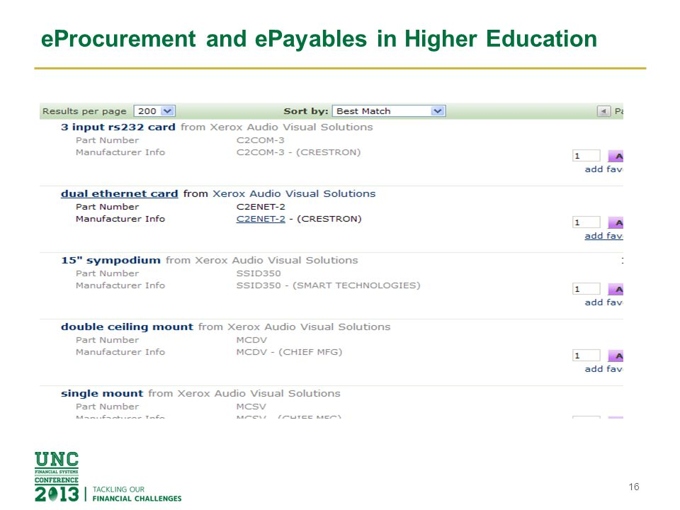 eProcurement and ePayables in Higher Education 16
