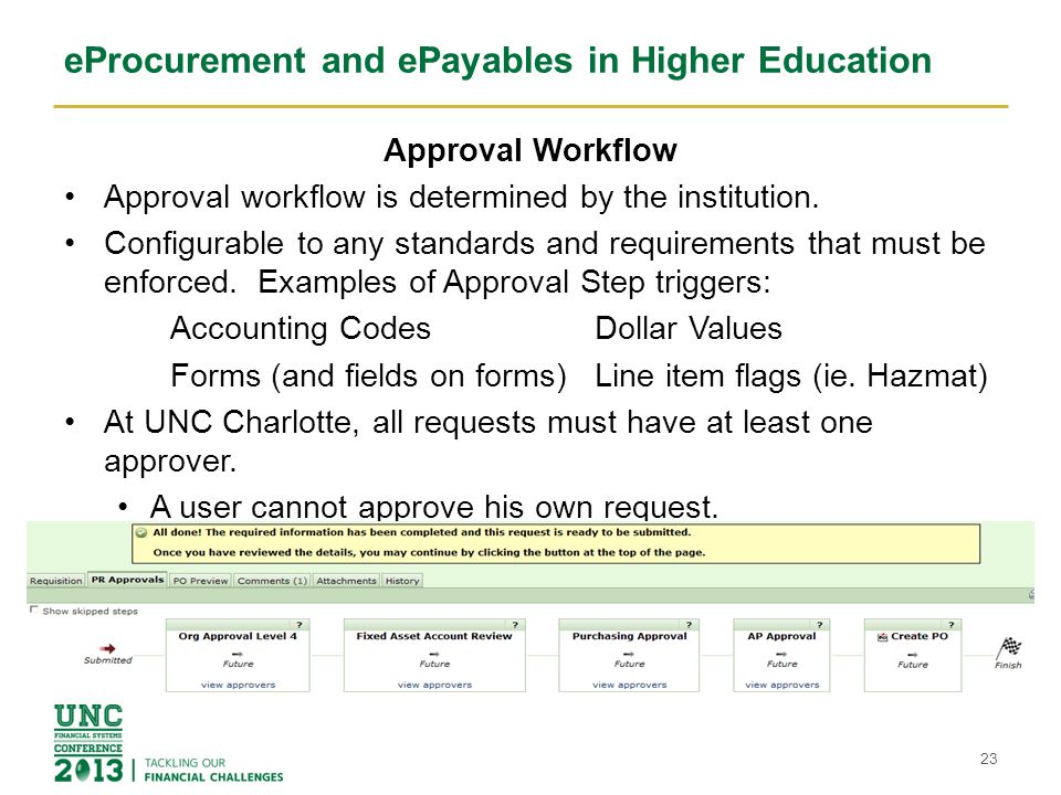 eProcurement and ePayables in Higher Education eProcure to ePayables Workflow Process Once all workflow approvals are complete the PO is generated and communicated to the ERP system at UNC Charlotte, Banner.