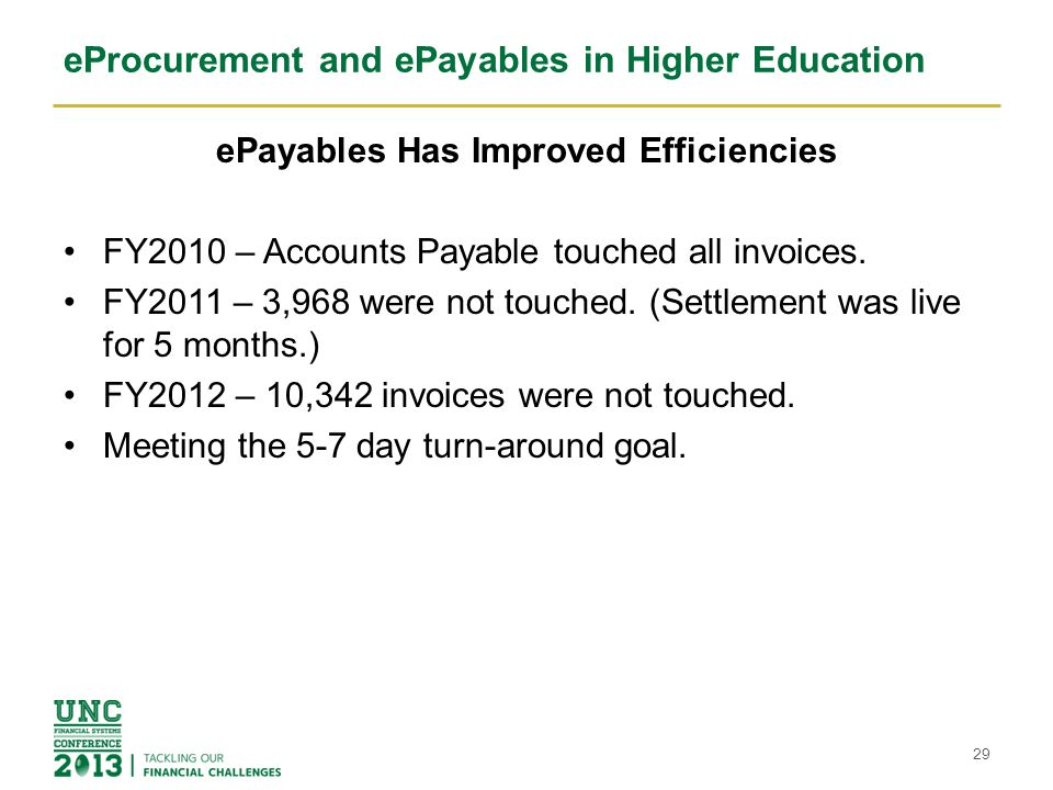 eProcurement and ePayables in Higher Education ePayables Has Improved Efficiencies FY2010 – Accounts Payable touched all invoices. FY2011 – 3,968 were