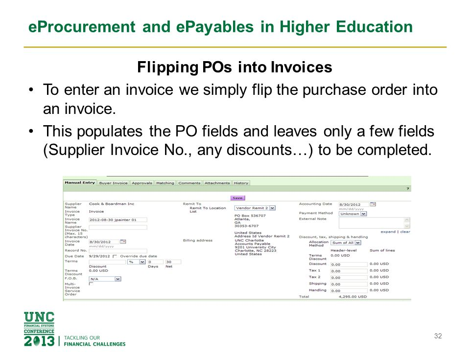 eProcurement and ePayables in Higher Education Completing the PO Flip Select the line items to process for payment for this invoice.