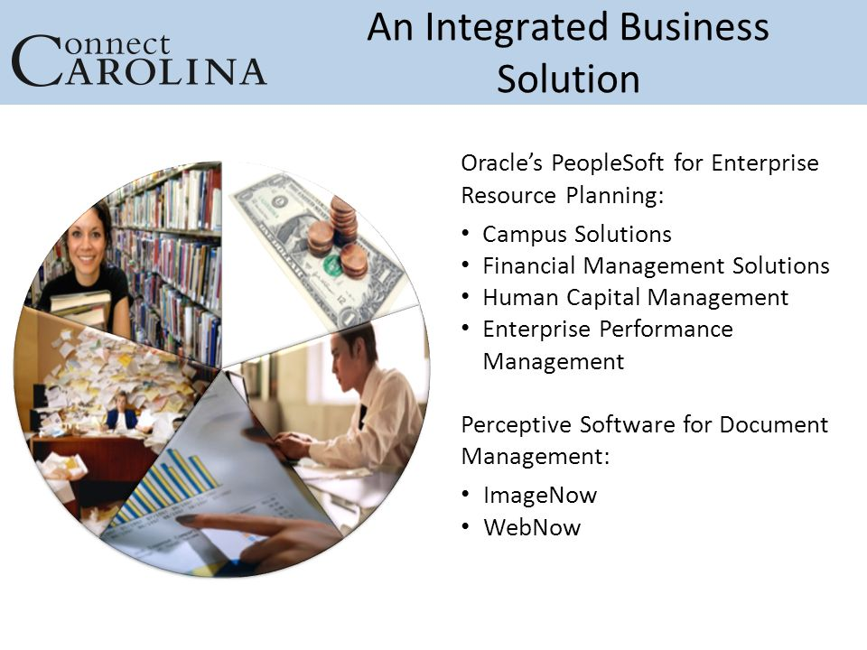 An Integrated Business Solution Oracle's PeopleSoft for Enterprise Resource Planning: Campus Solutions Financial Management Solutions Human Capital Management Enterprise Performance Management Perceptive Software for Document Management: ImageNow WebNow