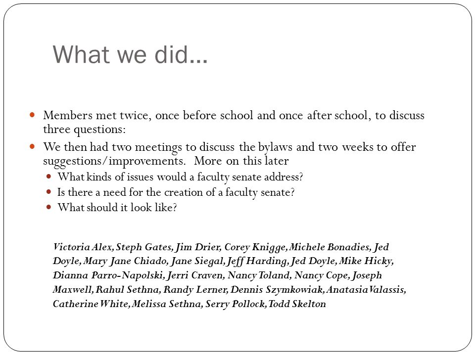 What we did… Members met twice, once before school and once after school, to discuss three questions: We then had two meetings to discuss the bylaws a
