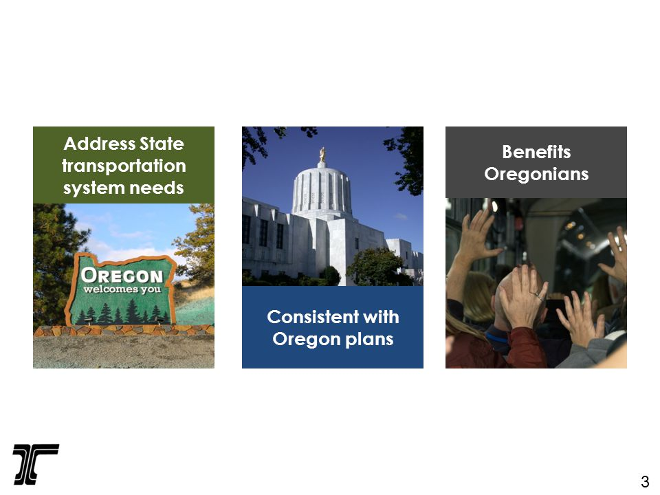 Address State transportation system needs Consistent with Oregon plans Benefits Oregonians 3