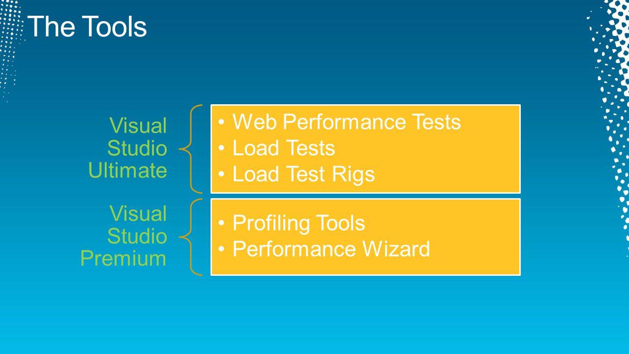 Visual Studio Ultimate Web Performance Tests Load Tests Load Test Rigs Visual Studio Premium Profiling Tools Performance Wizard