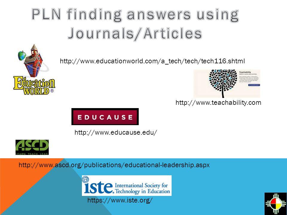 http://www.educause.edu/ http://www.ascd.org/publications/educational-leadership.aspx https://www.iste.org/ http://www.educationworld.com/a_tech/tech/