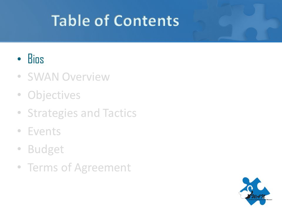 Bios SWAN Overview Objectives Strategies and Tactics Events Budget Terms of Agreement