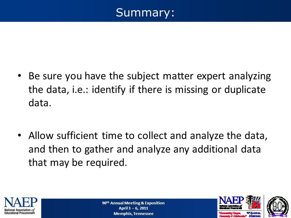 90 th Annual Meeting & Exposition April 3 – 6, 2011 Memphis, Tennessee Summary: Be sure you have the subject matter expert analyzing the data, i.e.: identify if there is missing or duplicate data.