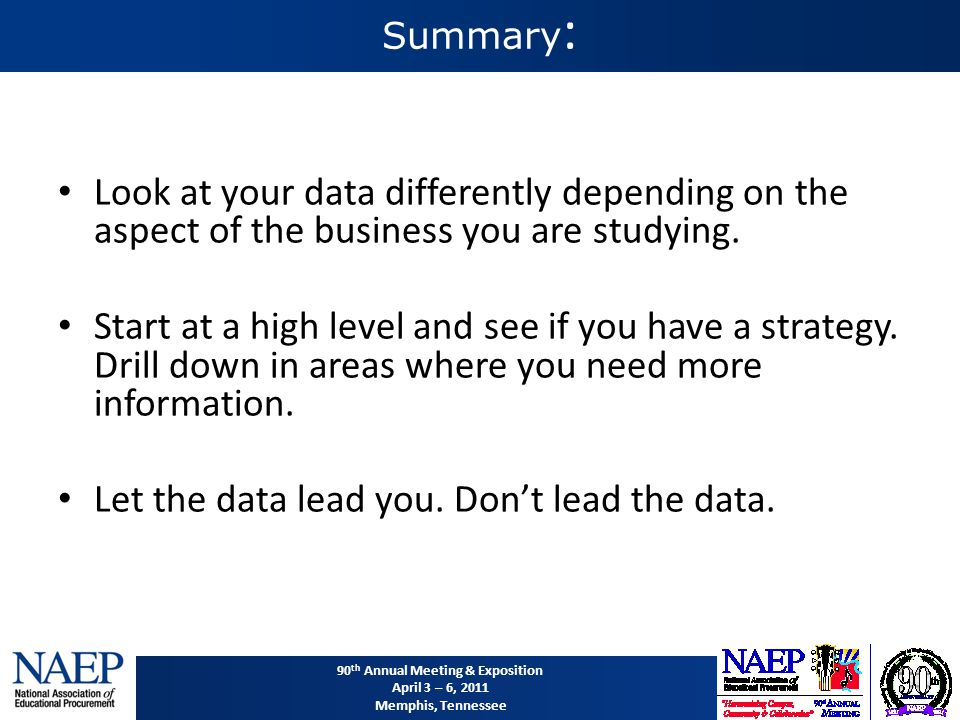 90 th Annual Meeting & Exposition April 3 – 6, 2011 Memphis, Tennessee Summary : Look at your data differently depending on the aspect of the business you are studying.