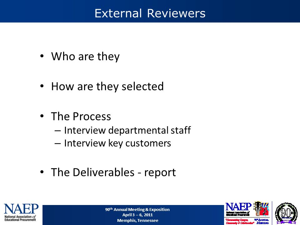 90 th Annual Meeting & Exposition April 3 – 6, 2011 Memphis, Tennessee External Reviewers Who are they How are they selected The Process – Interview departmental staff – Interview key customers The Deliverables - report