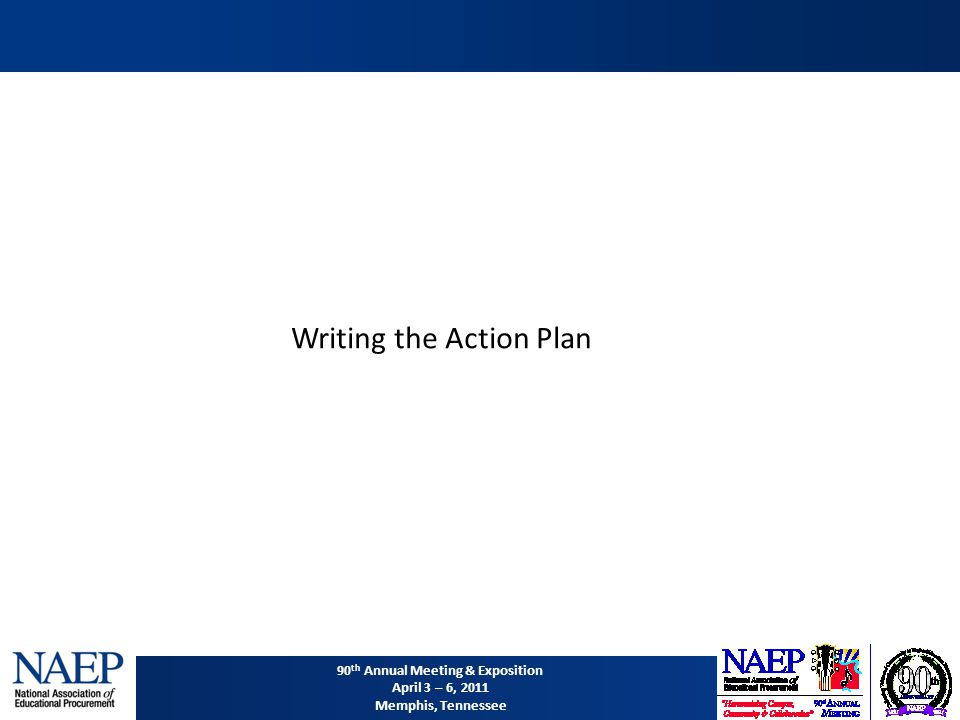90 th Annual Meeting & Exposition April 3 – 6, 2011 Memphis, Tennessee Writing the Action Plan