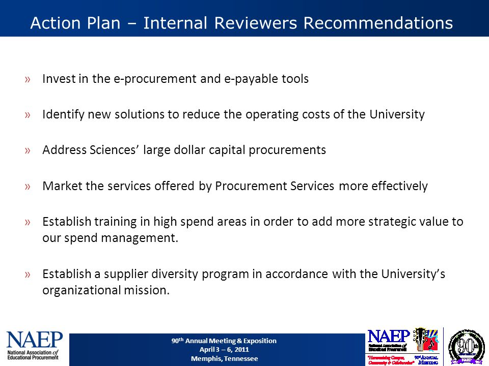 90 th Annual Meeting & Exposition April 3 – 6, 2011 Memphis, Tennessee Action Plan – Internal Reviewers Recommendations »Invest in the e-procurement and e-payable tools »Identify new solutions to reduce the operating costs of the University »Address Sciences' large dollar capital procurements »Market the services offered by Procurement Services more effectively »Establish training in high spend areas in order to add more strategic value to our spend management.