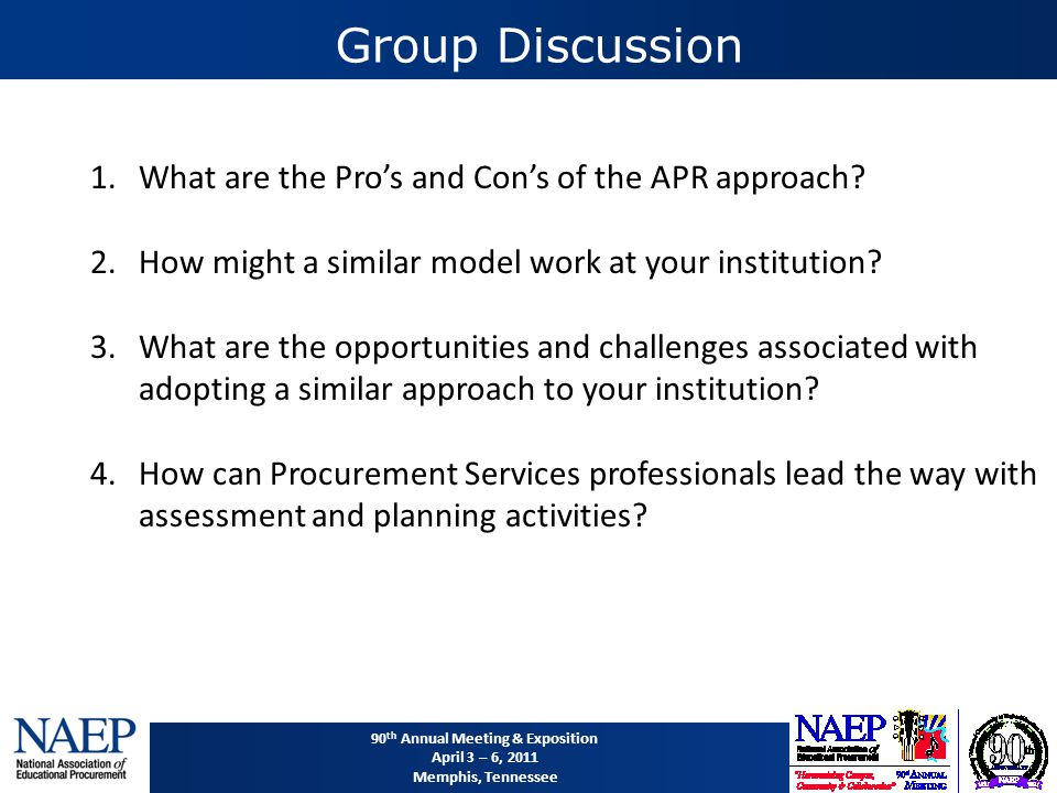 90 th Annual Meeting & Exposition April 3 – 6, 2011 Memphis, Tennessee Group Discussion 1.What are the Pro's and Con's of the APR approach.
