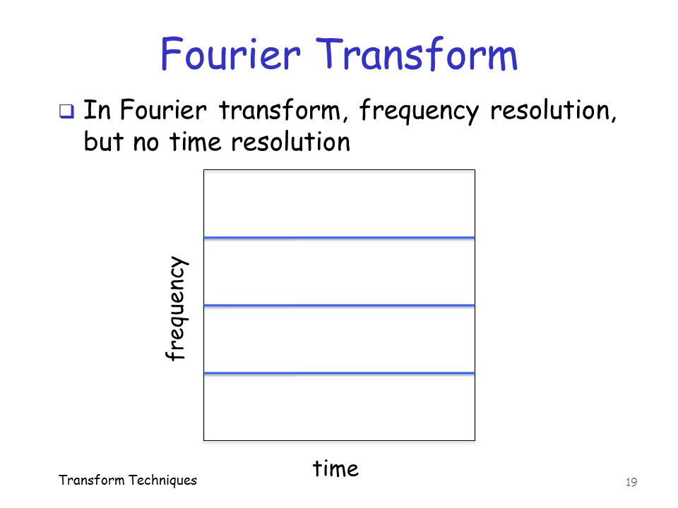 Fourier Transform  In Fourier transform, frequency resolution, but no time resolution Transform Techniques 19 frequency time