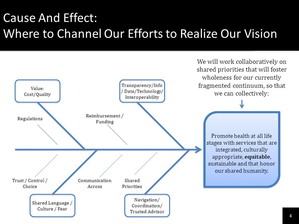4 Cause And Effect: Where to Channel Our Efforts to Realize Our Vision Cause And Effect: Where to Channel Our Efforts to Realize Our Vision Promote he