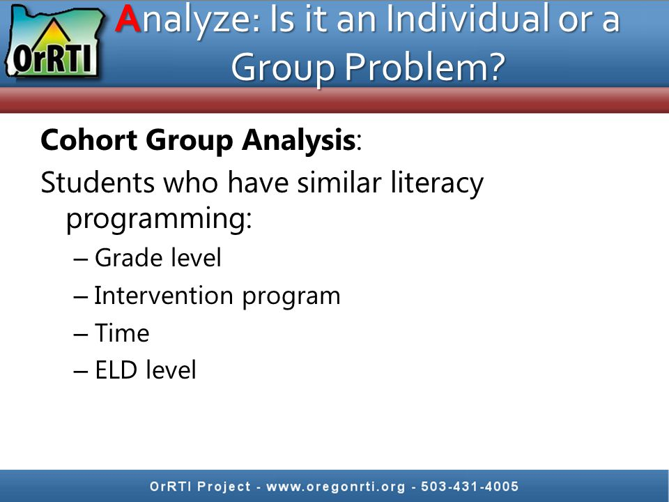 Analyze: Is it an Individual or a Group Problem.