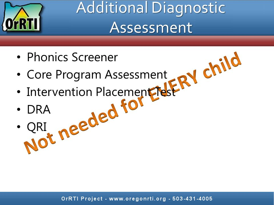 Additional Diagnostic Assessment Phonics Screener Core Program Assessment Intervention Placement Test DRA QRI