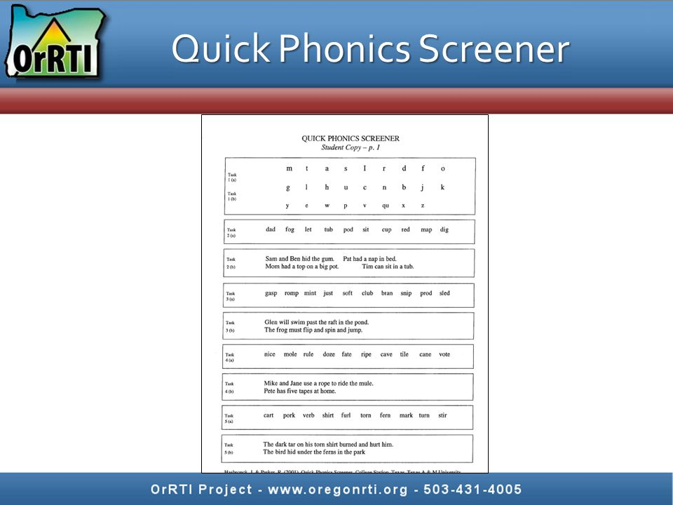 Quick Phonics Screener