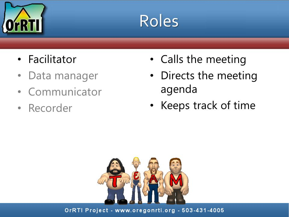 Facilitator Data manager Communicator Recorder Calls the meeting Directs the meeting agenda Keeps track of time Roles
